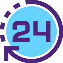 24h, agenda, clock, day, diary, plan, program, schedule icon