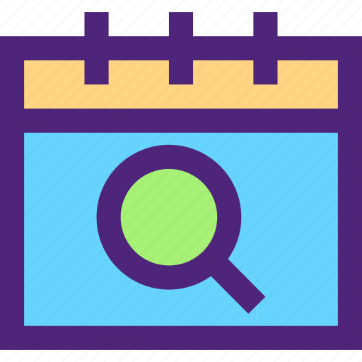 agenda, calendar, diary, plan, program, schedule, search icon