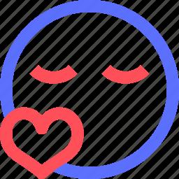 chat, emoji, emoticons, face, kiss, love, social icon
