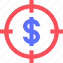 business, commerce, economics, finance, money, target icon