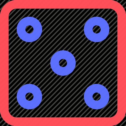 dice, entertainment, five, fun, games, play, recreation icon