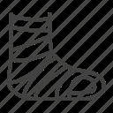 broken, cast, leg, trauma icon