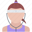athlete, fitness, headphones, music, runner, sport, training icon