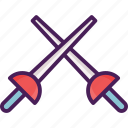 activity, fencing, sport, sword icon