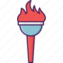 fire, light, torch, flame, opening icon