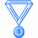 fitness, gym, medal, ribbon, sport, training icon
