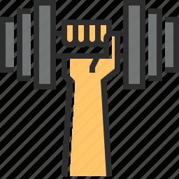 dumbbell, finger, hand, tool icon