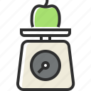 apple, food, fruit, healthy food, kitchen scales icon