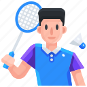 avatar, badminton, player, sport, sports icon