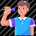avatar, dart, darts, man, sport icon