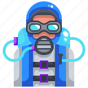 avatars, diver, diving, extreme, scuba, sport, underwater icon