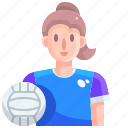 avatar, player, sports, volleyball, woman icon