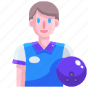 avatar, ball, bowling, game, player, sport icon