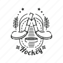 badge, emblem, hockey, sport, stick icon