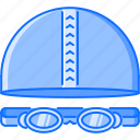 cap, equipment, glasses, goggles, sport, swimming, training icon