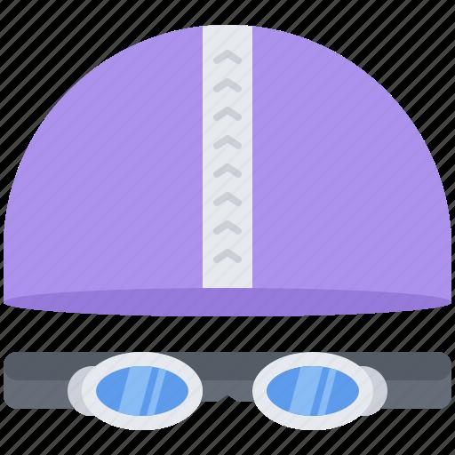 cap, equipment, glasses, goggles, sport, swimming, training icon
