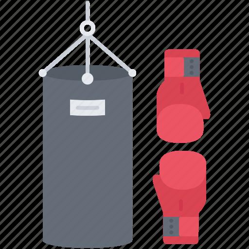 box, boxing, equipment, glove, pear, sport, training icon