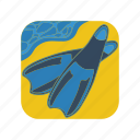 dive, diving, fins, flippers, scuba, snorkel, snorkeling icon