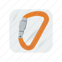carabiner, hiking, lock, mountain, mountaineering, safety, sport icon