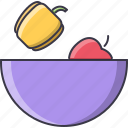 apple, fitness, food, healthy, pepper, plate, sport icon