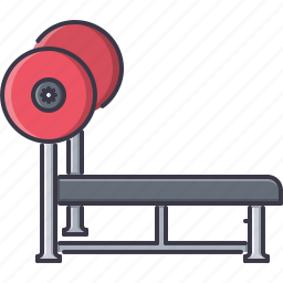 barbell, bench, fitness, gym, press, sport, training icon