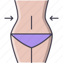 fitness, gym, losing, sport, training, waist, weight icon