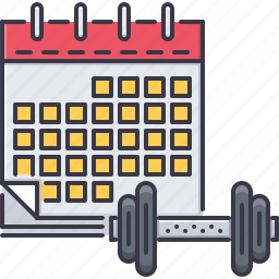 calendar, fitness, gym, schedule, sport, training icon