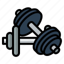 dumbbell, fitness, gym, heavy, muscle icon