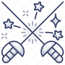 fencing, sports, sword icon