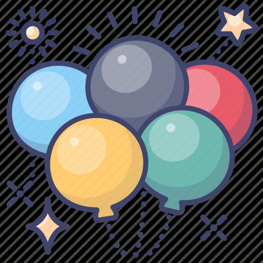 balloons, celebration, olympics icon
