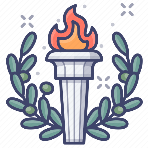games, olympic, torch icon