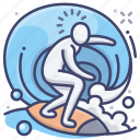 sports, surf, water, surfing icon