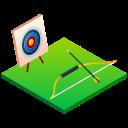 aim, archery, bow, bullseye, isometric, sport, target icon