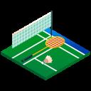 shuttlecock, badminton court, isometric, badminton, sport, racket icon