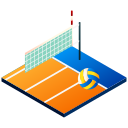isometric, volleyball, net, volley, sport, olympics icon