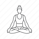 exercise, fitness, gym, meditation, woman, yoga, zen icon