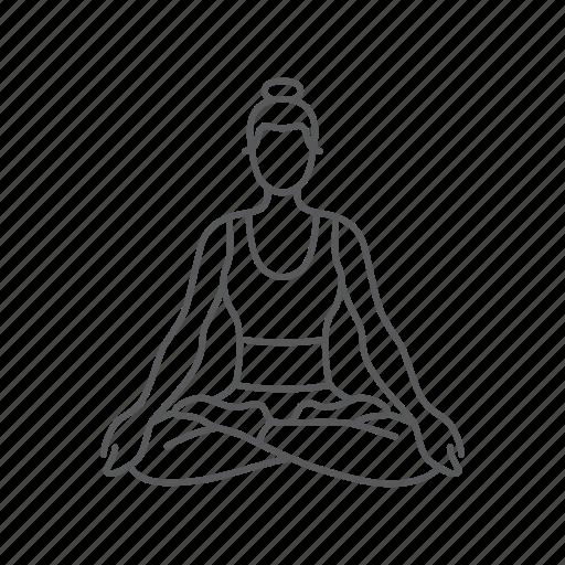 exercise, fitness, gym, meditation, woman, yoga, zen icon