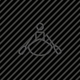 canoe, kayaking, man, rafting, sporting, water, wave icon