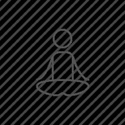 lifestyle, lotus, man, meditating, pose, practice, yoga icon