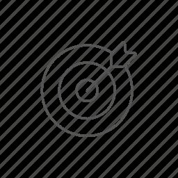 aim, arrow, center, score, shooting, target icon