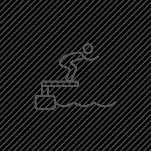 block, jumping, lane, pool, starting, swimmer, water icon