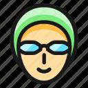 swimming, goggles