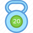 exercise, fitness, kettlebell, kg weight, kilogram icon