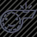 announce, arbiter, decision, whistle icon