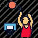 3 point, basket ball, jump, shot, sport icon