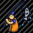 fish, fisherman, fishing, sport icon