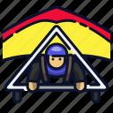 athlete, glide, glider, gliding, paragliding, skydiving, sport icon