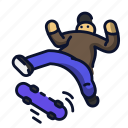 extreme, ollie, skateboard, skateboarding, sport icon
