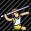 athlete, athletic, javelin, spear, sport, throw icon