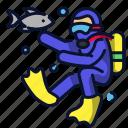 athlete, diver, diving, sea, snorkling, sport icon